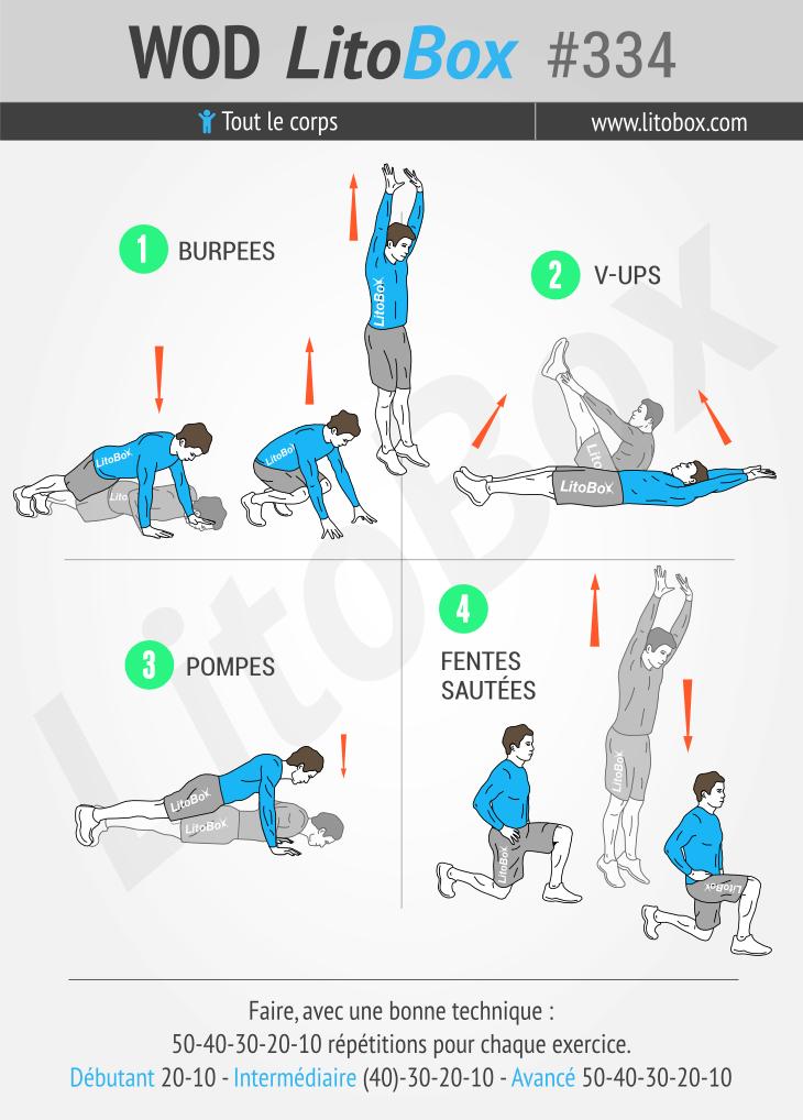 Circuit training de 4 exercices au poids du corps #334