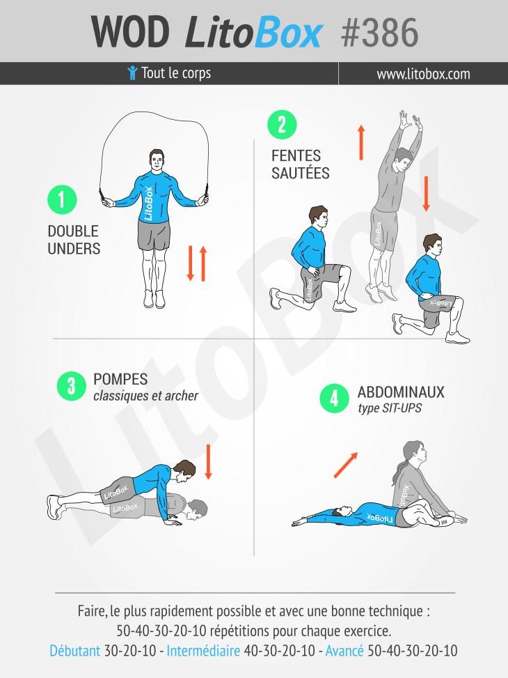 4 exercices au poids du corps, 600 répétitions, full-body #386