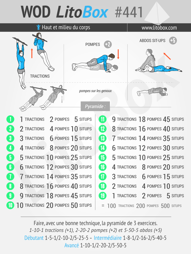 Programme d'endurance musculaire (tractions, pompes et