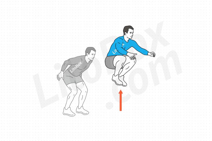 Saut groupé (saut genoux poitrine) exercice