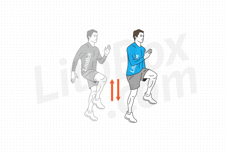 courir sur place ou levés de genoux