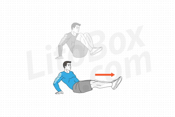 exercice abdos rameur ou kick out